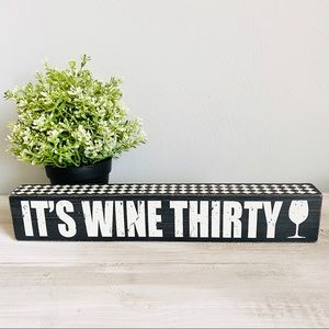 Wooden Wine Sign Black with White Lettering
